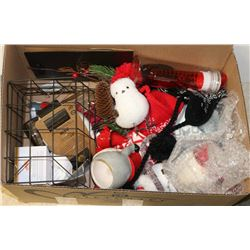 BOX OF ASSORTED WINTER DECORATIONS AND MORE