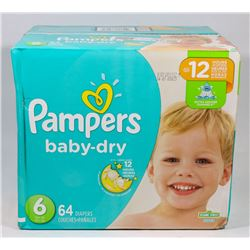 BOX OF 64 PAMPERS BABY DRY SIZE 6 DIAPERS