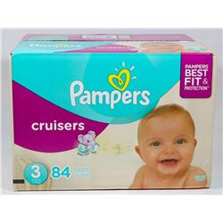BOX OF 84 PAMPERS CRUISERS SIZE 3 DIAPERS