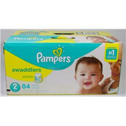 BOX OF 84 PAMPERS SWADDLERS SIZE 2 DIAPERS
