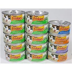 BAG OF  ASSORTED CANS FRISKIES CAT FOOD.