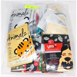 BAG OF ASSORTED FACIAL MASKS