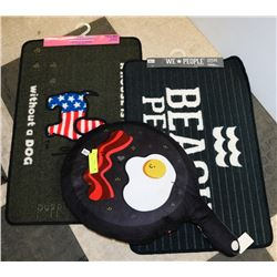 2 FLOOR MATS AND A BACON AND EGG PILLOW