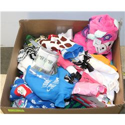 BOX OF ASSORTED BABY CLOTHES, HATS AND MORE