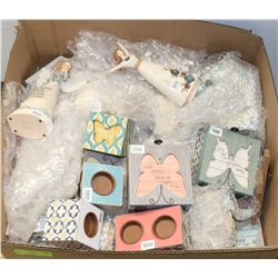 BOX OF ASSORTED DECORATIONS, TEALIGHT HOLDERS
