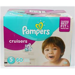 BOX OF 60 PAMPERS CRUISERS SIZE 5 DIAPERS