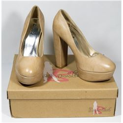 BONNIBELL BEIGE PU SIZE 7 LADY'S SHOES, STYLE