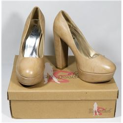 BONNIBELL BEIGE PU SIZE 8 LADY'S SHOES, STYLE