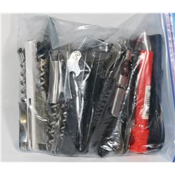 BAG OF ASSORTED CORKSCREWS AND BOTTLE OPENERS.
