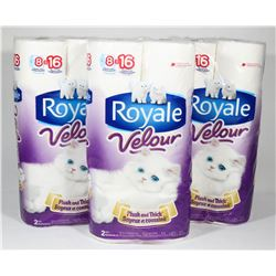 3 PACKS OF 8 ROLLS ROYALE VELOUR TOILET PAPER.
