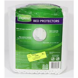 PACK OF 12 DEPEND BED PROTECTORS 3.0X1.7FT.