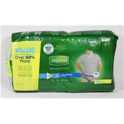 PACK OF 28 DEPENDS LARGE FITFLEX UNDERWEAR FOR MEN