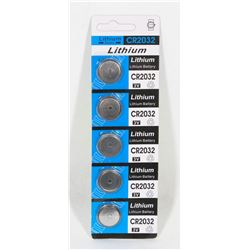 PACK OF 5 CR2032 LITHIUM BATTERIES