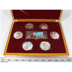 WOOD BOX OF COLLECTOR TOKENS