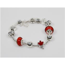 NEW! PANDORA STYLE MAPLE LEAF CHARM BRACELET