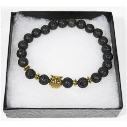 "NEW! ""OWL"" NATURAL LAVA STONE BEADS BRACELET"