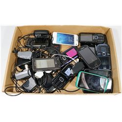 FLAT OF STORAGE LOCKER CELL PHONES, SOME WITH