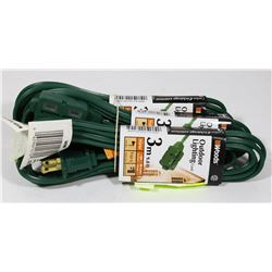 BUNDLE OF 3 WOODS OUTDOOR 3m EXTENSION CORDS