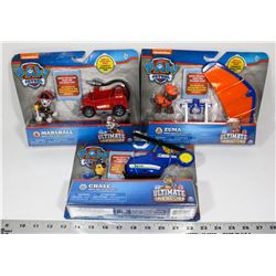 LOT OF 3 PAW PATROL ULTIMATE RESCUE TOY SETS.