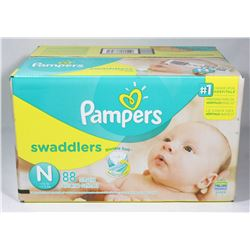 BOX OF 88 PAMPERS SWADDLERS SIZE N