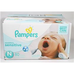 BOX OF 80 PAMPERS SWADDLERS SENSITIVE SIZE N