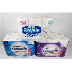 LOT OF 3 ASSORTED BATHROOM TISSUES, 36 ROLLS.