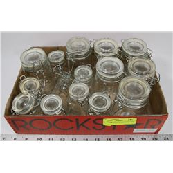 COLLECTION OF GLASS SPICE JARS