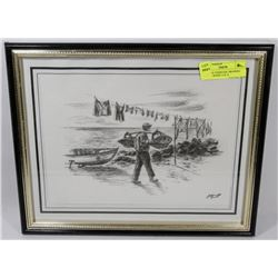 ORIGINAL CHARCOAL DRAWING SEASIDE SCENE 15 X 12