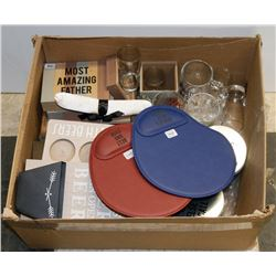 BOX OF ASSORTED INCLUDING GLASS MUGS, MOUSE PADS