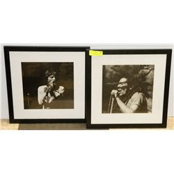 LOT OF 2 FRAMED PICTURES, MICK JAGGER, BOB MARLEY