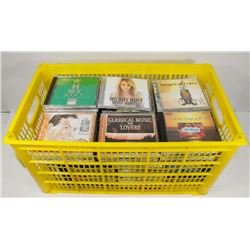 LARGE YELLOW CRATE OF CDS.