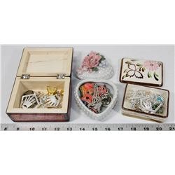 3 TRINKET BOXES FULL OF JEWELRY