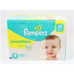 BOX OF 66 PAMPERS SWADDLERS, SIZE 4.