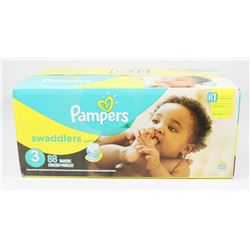 BOX OF 88 PAMPERS SWADDLERS, SIZE 3.