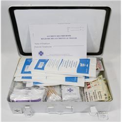 FIRST AID KIT FILLED WITH ASSORTMENT OF BANDAIDS