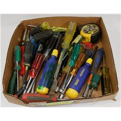 FLAT OF ASSORTED SCREWDRIVERS, TAPE MEASURES