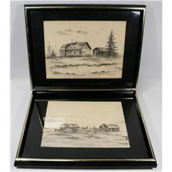 VINTAGE SET OF 2 SKETCHES