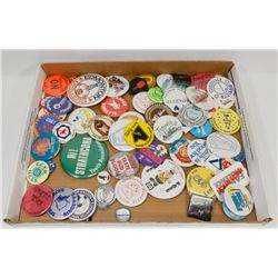 LOT OF VINTAGE PIN BACK BUTTONS.