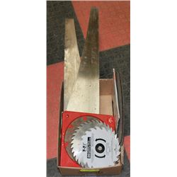 TRAY OF ASSORTED SAW BLADES & SAWS