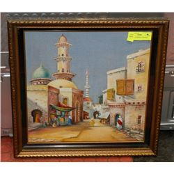 PAINTING OF MIDDLE EASTERN SCENE.