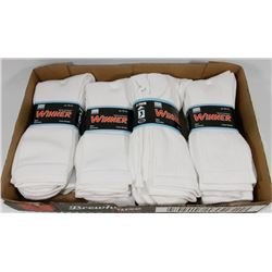 LOT OF 12 NEW MENS WHITE CREW SOCKS