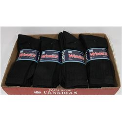LOT OF 12 NEW MENS BLACK CREW SOCKS