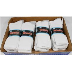 LOT OF 12 NEW MENS WHITE WITH GREY ACCENTS CREW