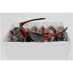 BOX OF RED OAKLEY STYLED SUNGLASSES WITH SMOKEY