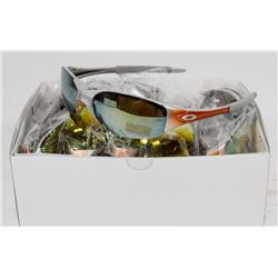 SILVER AND ORANGE OAKLEY STYLED SUNGLASSES