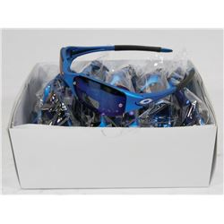 BOX OF BLUE STYLED SUNGLASSES WITH BLUE LENSES