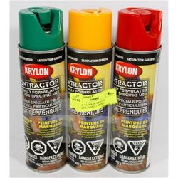 LOT OF 3 CANS OF KRYLON MARKING PAINT, 1 GREEN