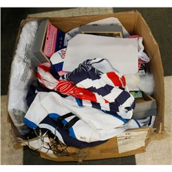 BOX OF ASSORTED NEW BABY CLOTHES, DECORATIONS,