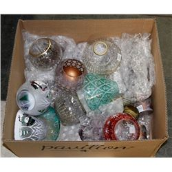 BOX OF ASSORTED GLASS CANDLE HOLDERS AND MORE