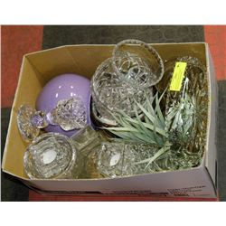 BOX OF DECORATIVE VASES, INCLUDING CRANBERRY